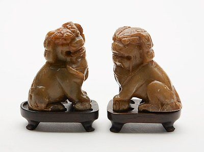 Antique Pair Of Carved Soapstone Lion Dogs 18/19Th C.