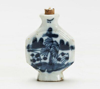 Antique Chinese Blue & White Landscape Snuff Bottle 18/19 C