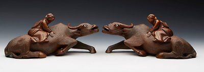 Antique Chinese Carved Hard Wood Boys On Water Bufffalo Figures C.1900