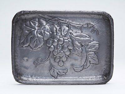 ARTS AND CRAFTS PEWTER FRUITING VINE EMBOSSED TRAY c.1900