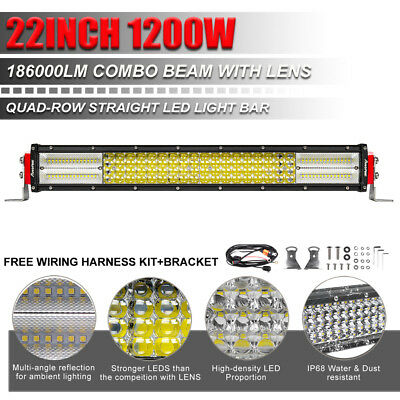"CREE 22INCH 1200W 10D Off road Led Spot Flood Light Bar 4WD Driving Lamp 20"" 23"""