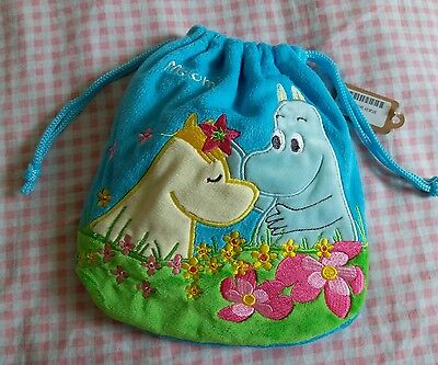 Moomin Valley Characters Cotton Light Blue Multi use Drawstring Pouch x