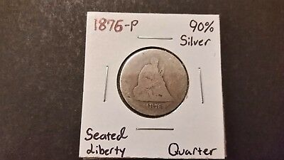 1876-P Seated Liberty Quarter! 90% Silver! Free Shipping!