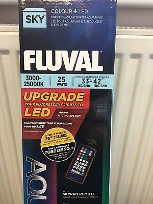 "FLUVAL 25w 33-42"" AQUASKY COLOUR REMOTE LED MARINE TROPICAL FISH TANK SKY LIGHT"