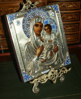 Antique Russian icon Silver Oklad with Enamel, Mother of God Tikhvin, 19c