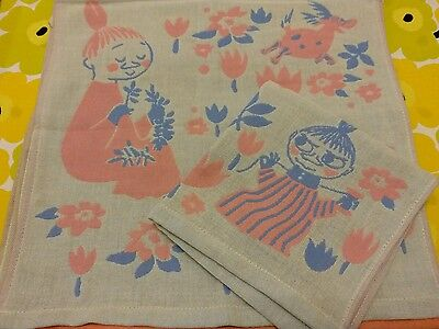 Moomin Little MY Embroidery Big Cotton Handkerchief Pink