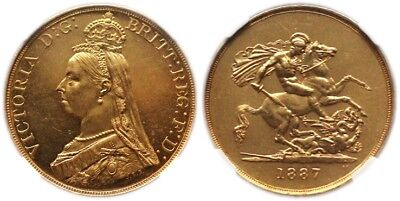 1887 Great Britain Victoria Gold 5 Pounds Ngc Ms63