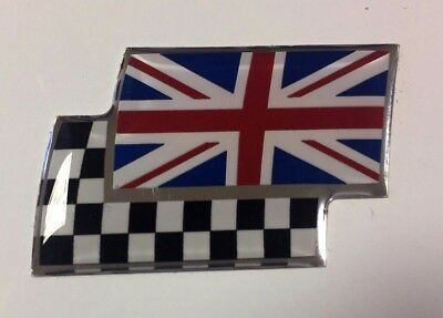 UNION JACK/CHEQUERED FLAG Sticker/Decal - RED WHITE BLUE HIGH GLOSS DOMED GEL