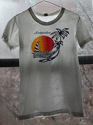 Vintage Acapulco Mexico Shirt XS Soft Cotton Worn Thin Sunset Palm Tree 70s surf