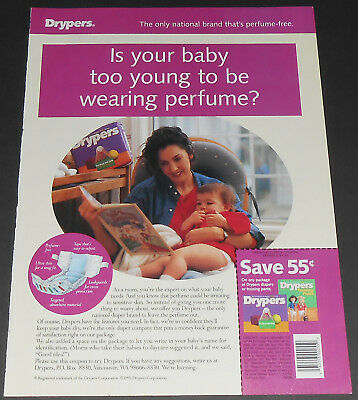 1995 vintage print ad - DRYPERS BABY DIAPERS - BEDTIME 1-PAGE ADVERT bedwetting