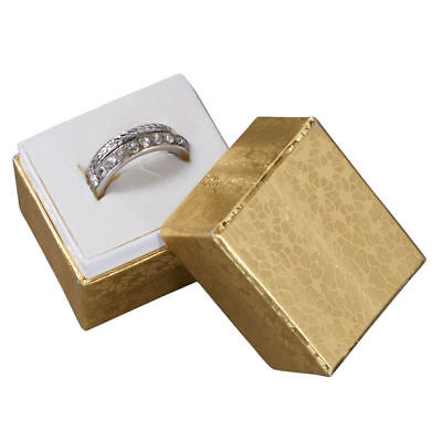 """Jewelry Ring Boxes 100 Gold Foil Retail Gift Merchandise 1 ½"""" x 1 ¼"""" x 1 ½"""" Lid"""