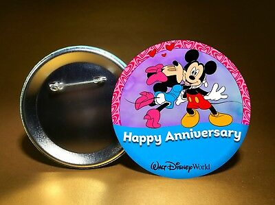 "HAPPY ANNIVERSARY - w/ Disney's Mickey & Minnie - 3"" PIN BACK BUTTON - FREE SHIP"