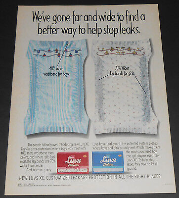 1991 vintage print ad - LUVS DELUXE BABY DIAPERS - XC - BOYS GIRLS 1-PAGE ADVERT