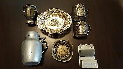 Lot of silver plate bowl cup holders w/ painted metal match holder & Wear Ever