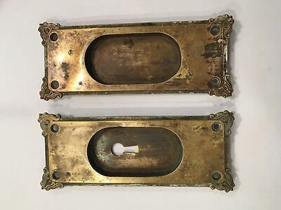 Pair Vintage Antique Victorian Brass Pocket Sliding Door Hardware Pull Handles