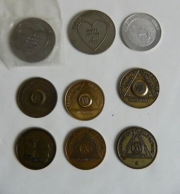 Lot Alcoholics Anonymous Bronze Founders Medallion Yearly Family Reunion Tokens