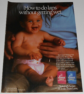 1989 vintage print ad - LUVS DELUXE DIAPERS - MUPPETS - 1-PAGE ADVERT girl #2