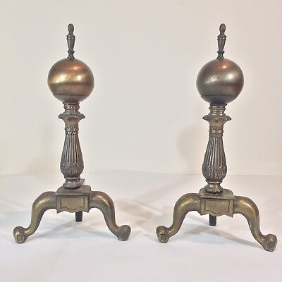 """VTG Andirons Brass Round Ball 19"""" Andirons Cast Iron Primitive Antique Marked W"""