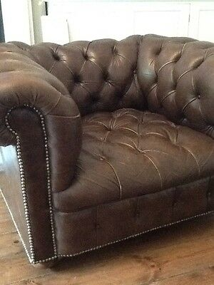 Chesterfield Tub/club Chair Brown Leather