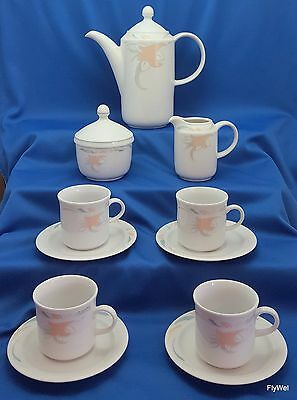 Kahla Calla Lily Demitasse Set 11 Pc White Porcelain with Peach Flowers Germany