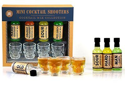 Four 4 Skull Shot Glass + Cocktail Shooter Set Hard Lemonade Old Fashioned Ma...