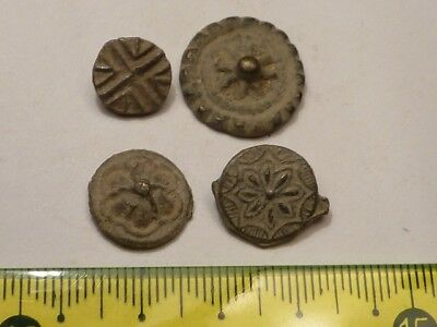 1508	Lot of 4 ancient Medieval tin-lead alloy ring parts