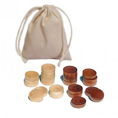 Traditional Wood Draught & Backgammon Pieces with Stackable Ridge - Dark