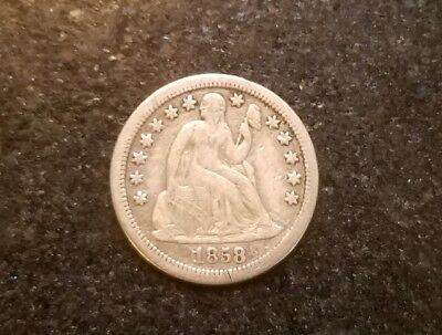 1858-S Seated Liberty Dime- Very Rare Key Date