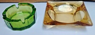 Vintage Amber Hawking style ash trays lot of 2