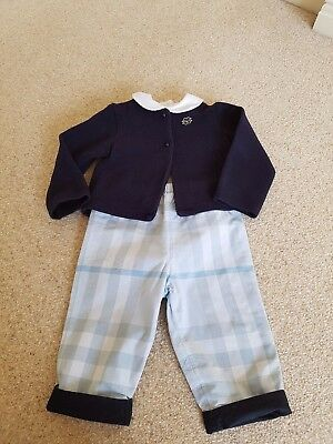 Burberry check trousers , Mayoral cardigan & Babidu top age 12 months
