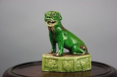20th C. Chinese Sancai Enameled Porcelain Small Dog