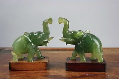 20th C. Chinese Pair Carved Jade Elephants