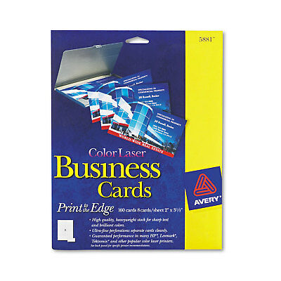 Avery Print-to-the-Edge Microperf Business Cards Color Laser 2 x 3 1/2 Wht 160