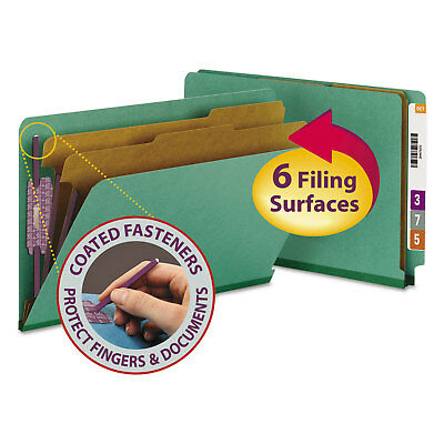 Smead Pressboard End Tab Classification Folders Legal Six-Section Green 10/Box