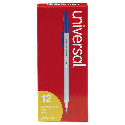 UNIVERSAL Economy Ballpoint Stick Oil-Based Pen Blue Ink Fine Dozen 27421