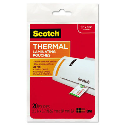 Scotch Business Card Size Thermal Laminating Pouches 5 mil 3 3/4 x 2 3/8 20/Pack