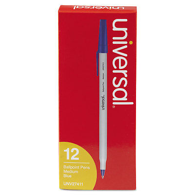 UNIVERSAL Economy Ballpoint Stick Oil-Based Pen Blue Ink Medium Dozen 27411