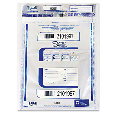 Pm Company Triple Protection Tamper-Evident Deposit Bags 15 x 20 Clear 50/Pack