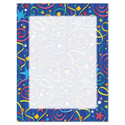 Geographics Design Paper 24 lbs. Star Confetti 8 1/2 x 11 Royal Blue 100/Pack
