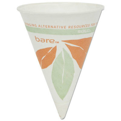 SOLO Bare Eco-Forward Paper Cone Water Cups, 4oz, White, 200/Pack, 25 Packs