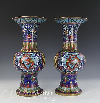 Large Pair Of Chinese Cloisonne Ku Form Vases With Dragons