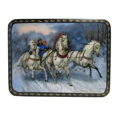 The Russian Troika Russian Wooden Lacquered Box
