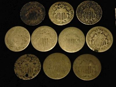 Shield Type Nickles Group of 10, Well Used