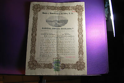 Mexican Stock Certificate With Coupons ,1922. Excellent Con. Only 1 Coupon Used