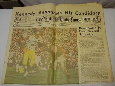 Vintage The Seattle Daily Times January 2 1960 Rose Bowl Huskies