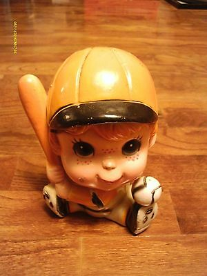 Vintage Hard Plastic Little Baseball Boy Bank
