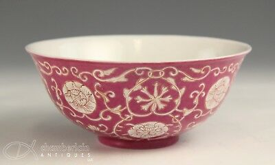 Old Chinese Pink Glazed Porcelain Bowl With Flowers And Mark