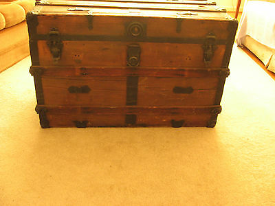 Antique Wood Steamer Trunk Chest  Flat Top Table Storage Box