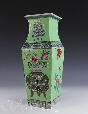 Old Chinese Four Sided Porcelain Vase With Lime Green Glaze