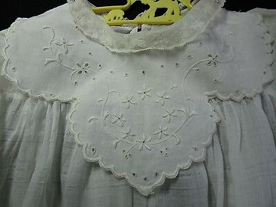 Antique Edwardian Child's Christening Gown French Lace, Embroidery, Eyelet Lace